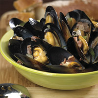 P.E.I. Mussels in white wine and garlic