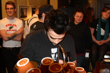 Rob Kettner rocks the house at the 1st ever Latte Art throw down for Haiti!