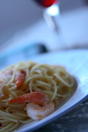Chili Spaghettini Prawns on Colin and Andrea's plate