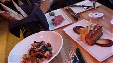 Dining out - bread, Salami and cheese at Vis-a-vis on Oak Bay