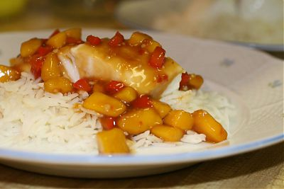 Eric Akis recipe Steamed Halibut with Mango and Teriyaki