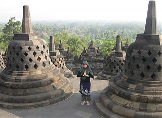 M Holden at Borobudur Temple